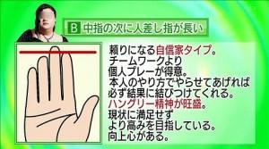 月曜から夜ふかし,性格診断,指の長さ,人差し指,B