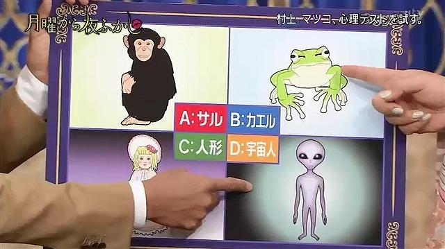 月曜から夜ふかし,心理テスト,覗く,サル,カエル,人形,宇宙人