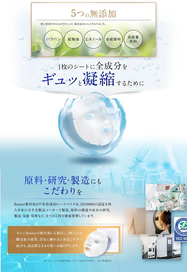 Brater(ブレイター)薬用美白美容液3Dシートマスク,特徴,効果